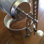 焙煎器を針金巻き→穴あけてボルトで固定