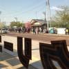 当店前で映画撮影