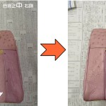 ピンクに変退色したバッグを紫色に復活