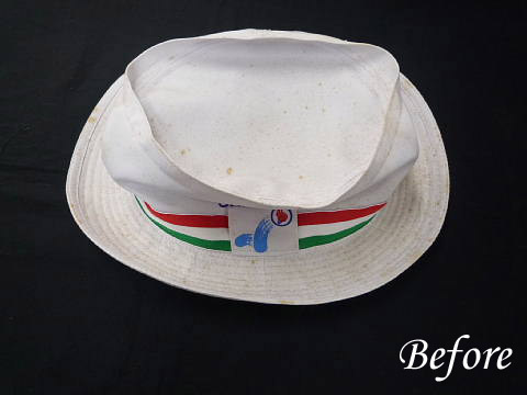 カビのはえた帽子の染み抜き